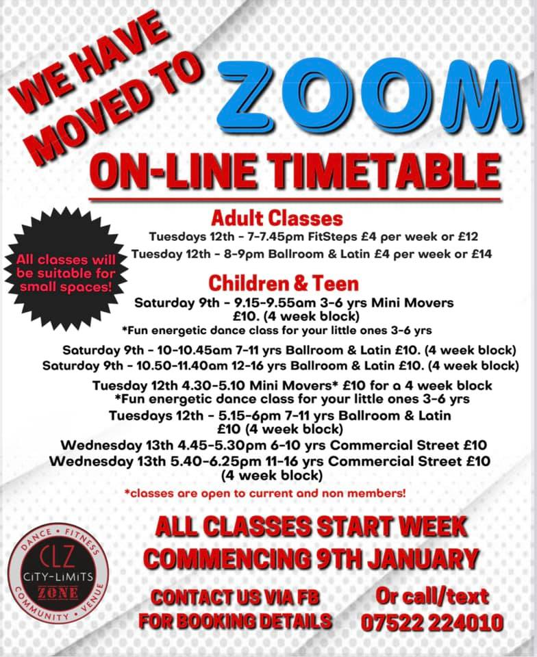 Zoom classes timetable
